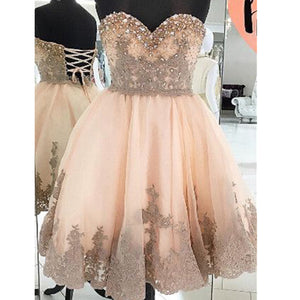 Strapless Sweetheart Gorgeous Lace Up Back Sparkly Rhinestone Junior Homecoming Prom Dresses, BD00142