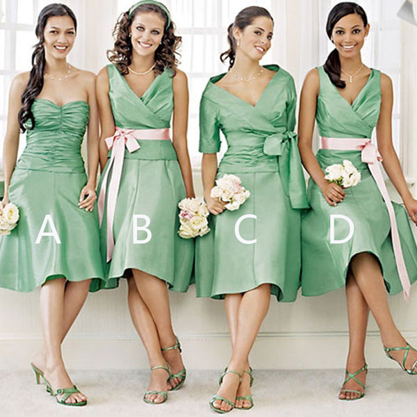 Unique Women Satin Mismatched Green Different Styles Cheap Short Bridesmaid Dresses, WG149