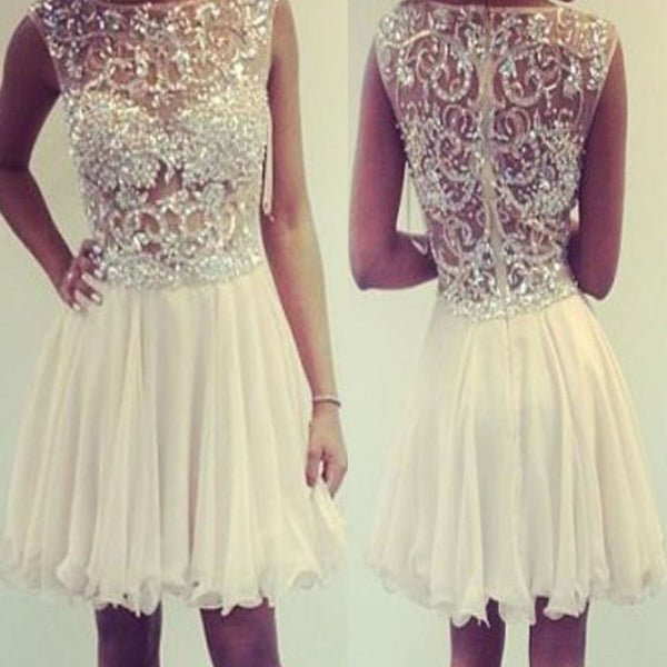 Champagne cap sleeve high neckline lace appliques sequins beads  perspective mini homecoming prom dress,BD0014