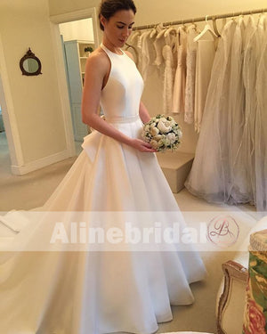 Simple Ivory Satin Elegant Halter With Stunning Bowknot Sweep Train  Wedding Dresses, AB1124