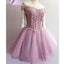 Purple off shoulder see through charming unique style homecoming dresses, BD00150