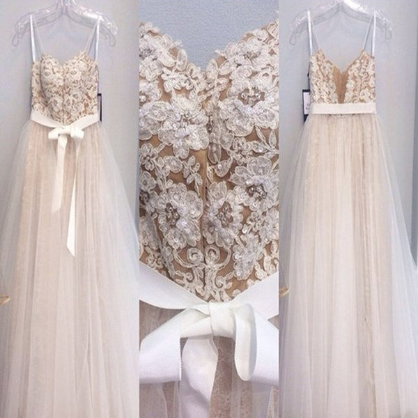 Champagne Spaghetti Straps Appliqued Ball Gown Prom Dresses Long.AB1082