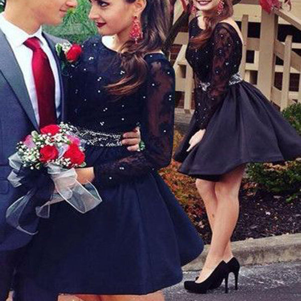 Long sleeve black beaded open back simple sexy charming homecoming dresses, BD00157