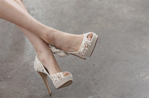 Ivory Lace High Heels Fish Toe Sexy Wedding Bridal Shoes, S012