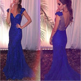 Royal Blue Mermaid Cap Sleeves V-Neck Sexy Evening Party Dress. PD261