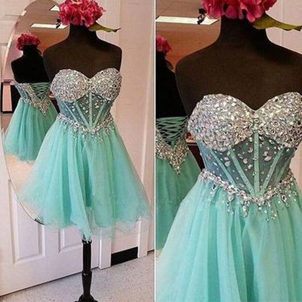 Strapless mint sparkly see through mini homecoming dresses, BD00168