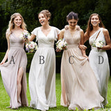 Mismatched Pretty Cheap Chiffon Side Split Floor-Length Formal High Quality Custom Make Bridesmaid Dresses, WG170