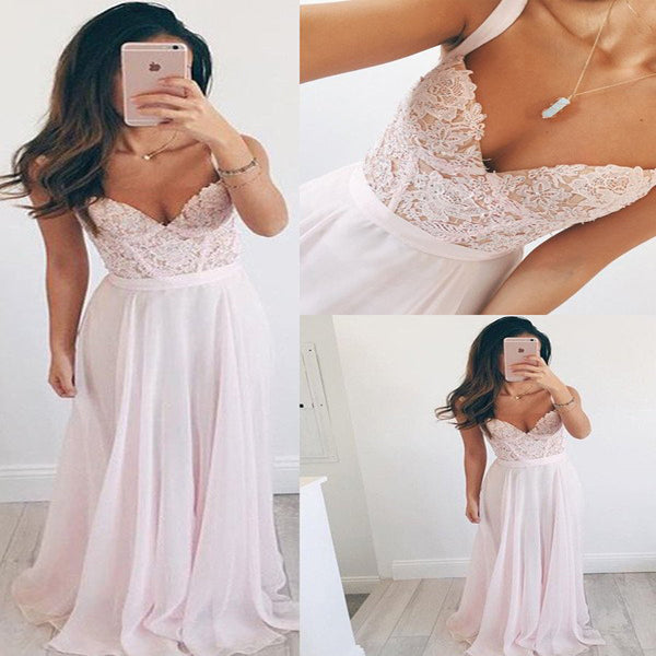 Long Spaghetti Strap Chiffon A-line Lace Applique Beads V-neck Baby Pink Prom Dress Wedding Dress, AB1088