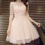 Pink lace A-line with half sleeve lovely elegant party gown homecoming dresses,BD00174