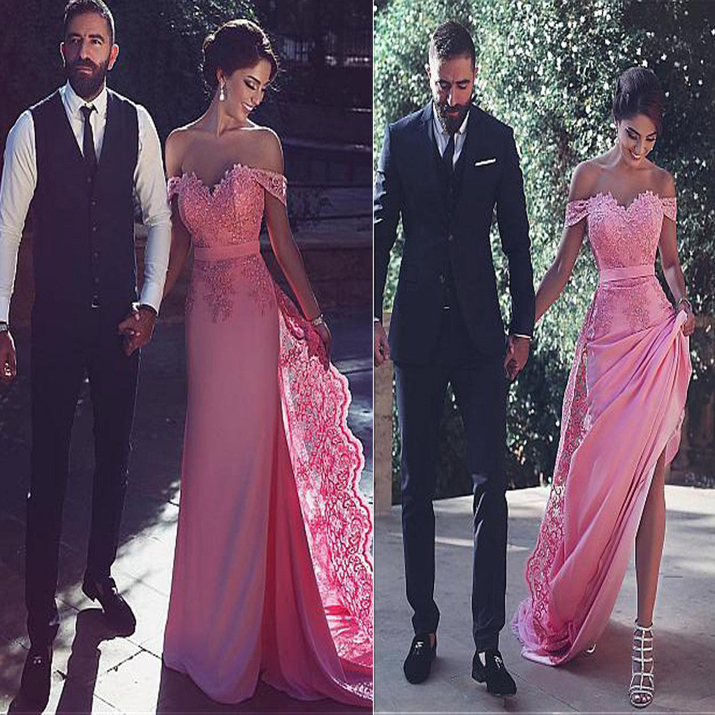 Peach Pink Off The Shoulder Lace Elegant Unique Formal Prom Gown Dresses. AB020