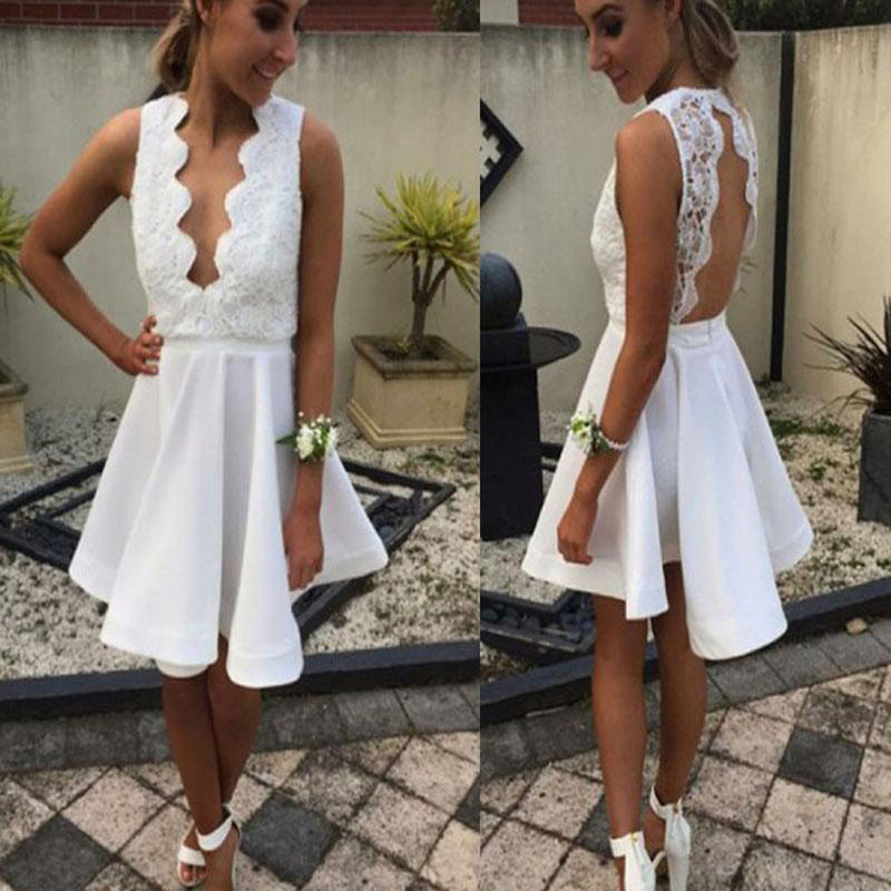 Short white lace simple open backs sexy unique style cocktail homecoming dresses,BD00176