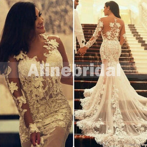 Long Sleeve See Through Mermaid Sexy Bridal Gowns Wedding Party Dresses, WD0112