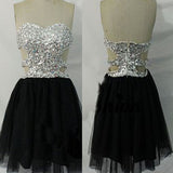 Strapless rhinestones sparkly mini mismatched open back freshman homecoming prom dress,BD0017
