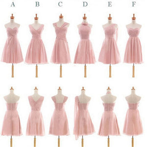 Pretty Chiffon Mismatched Different Styles Blush Pink Knee Length Cheap Bridesmaid Dresses, WG184