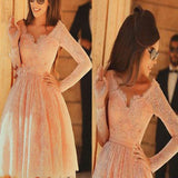 Long sleeve pink lace knee-length v-neck charming homecoming prom gown dress,BD0018