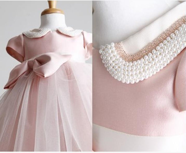 Lovely Cap Sleeve Pink Tulle Satin Flower Girl Dresses, Affordable Little Girl Dresses, FG031