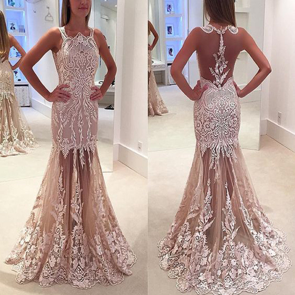 Long Vintage Lace See Through Sleeveless Unique Mermaid Prom Dresses.AB010