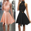 New Arrival Blush pink High neck open backs unique style homecoming dresses, BD001191