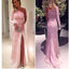 Pink One Shoulder Appliques Long Sleeves Lace Vintage Prom Gown Dresses. AB014