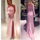 2017 Pink One Shoulder Appliques With Long Sleeves Lace Vintage Prom Gown Dresses. AB014