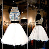 Two pieces Halter sparkly vintage open backs unique style casual Rehearsal homecoming dresses,BD00196