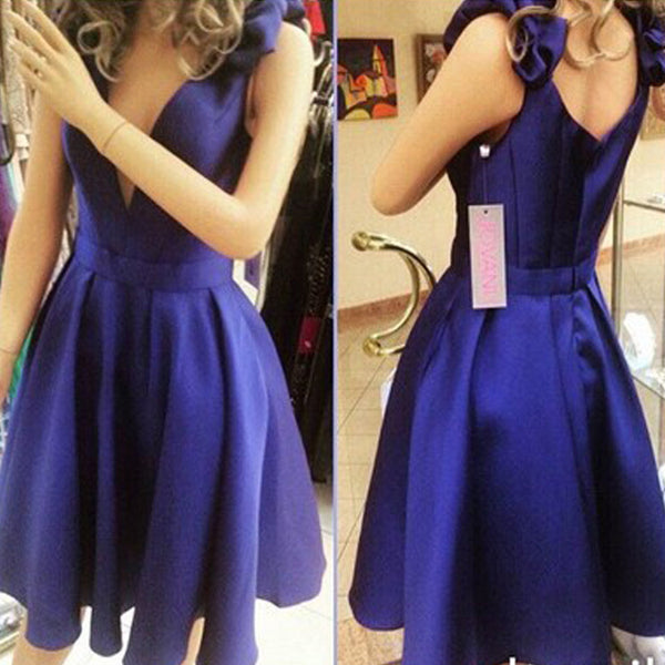 New Arrival Royal Blue Simple V Neck Junior Charming For Teens