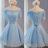 Light Blue off shoulder with short sleeve lace lovely homecoming prom dresses, BD00198