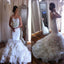 Elegant Strapless Mermaid Charming Ruffles Floral Unique Wedding Bridal Gown Dresses. WD0118
