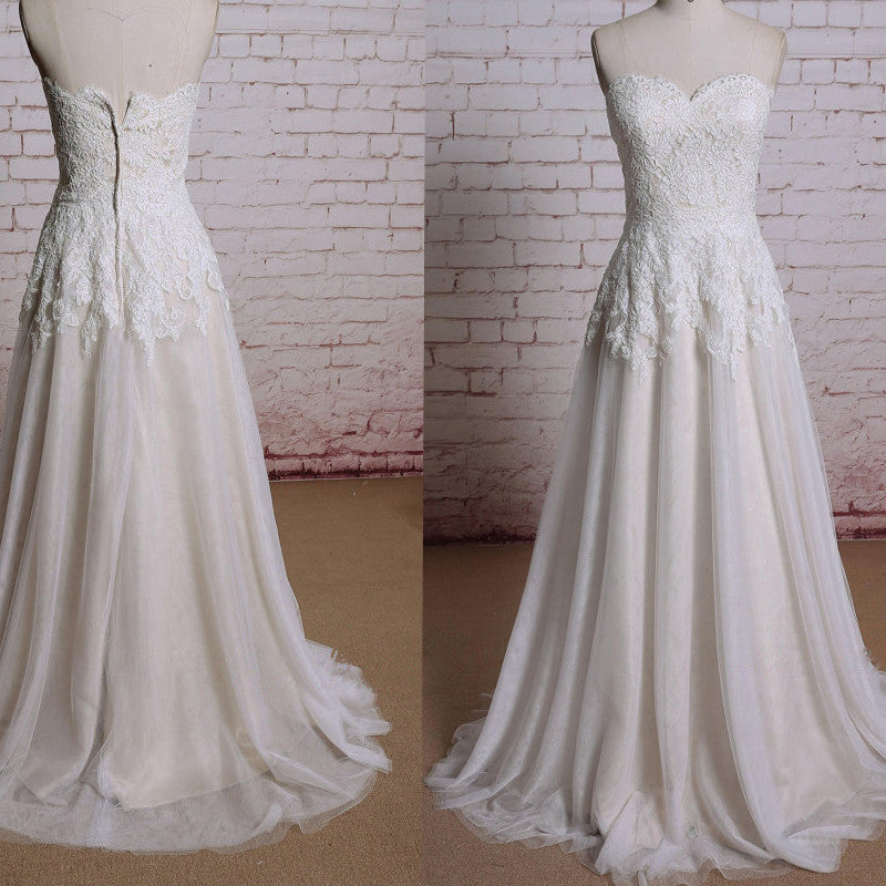 Sweetheart Neckline Ivory Lace   A-line Sweep Train Sleeveless Wedding Dress , WD0120