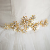Gold Star Bridal Sash, Crystals Pearl Wedding Sash,Skinny Bridal Sash, rhinestone wedding sash, SA0043