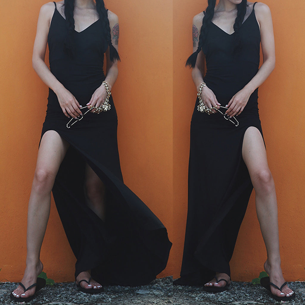 Sexy Black High Side Split Spaghetti Strap V-neck Simple Cheap Long Prom Dresses,PD00001