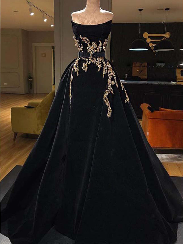 A-Line Black Strapless Elegant Modest Long Prom Dresses With Appliques  PD1962