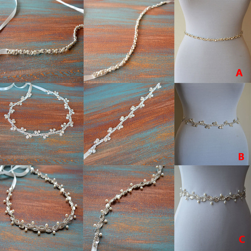 Thin Beading Pearl Bridal Belt, Wedding Sash, Different Pattern Sashes,Silver Gold, SA0016