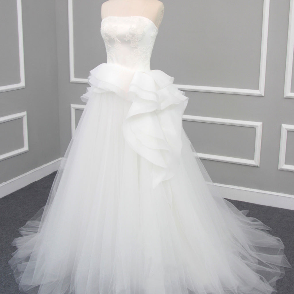 Newest Strapless Appliques Lace Up Back Unique Ruffles Tulle Ball Gown Wedding Dress, AB1104