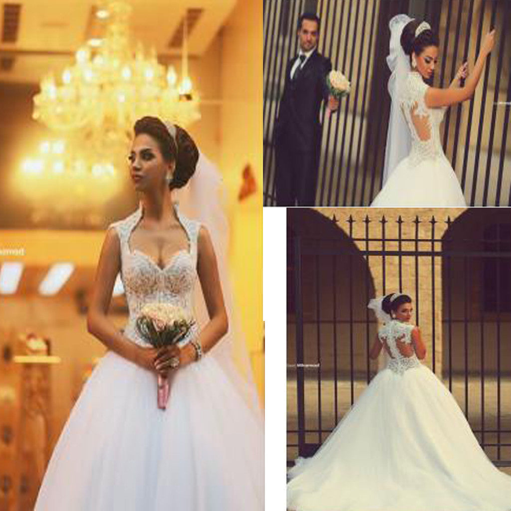 Vintage Sleeveless Princess Ball Gown Gorgeous  Lace Wedding Dresses , WD0080