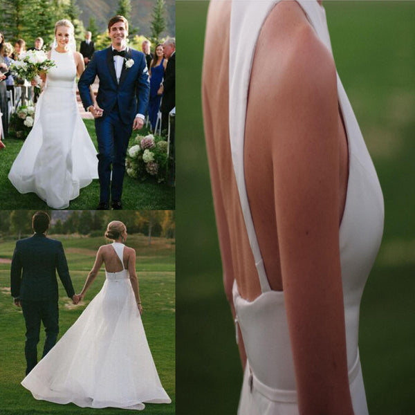 Elegant Long A-line White Satin Tulle Train Shoulder Strap High Neckline Wedding Dress, AB1089