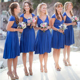 Royal Blue Short Convertible Jersey Bridesmaid Dresses For Summer Wedding, AB1153