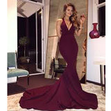 2017 Long Burgundy Mermaid Sexy Formal Evening Party Prom Dresses. PD0290