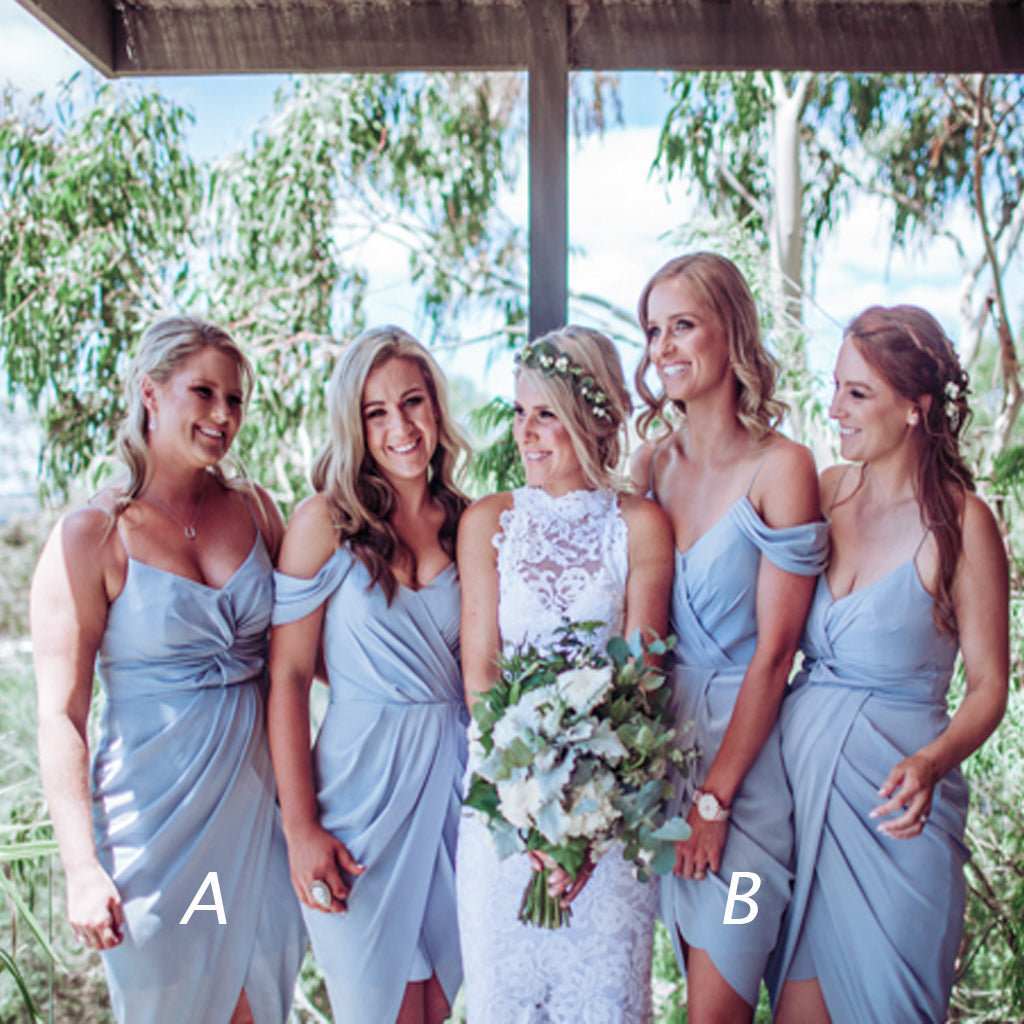 Pale Blue Pleating Spaghetti Strap Mismatched Hi-low Short Bridesmaid Dresses, AB1175