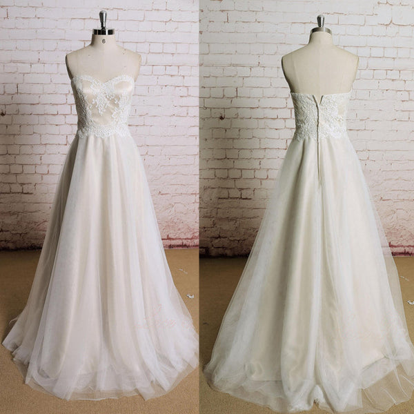 Strapless Sweetheart Neckline Lace  Elegant Simple Charming Cheap Wedding Dress ,AB1080