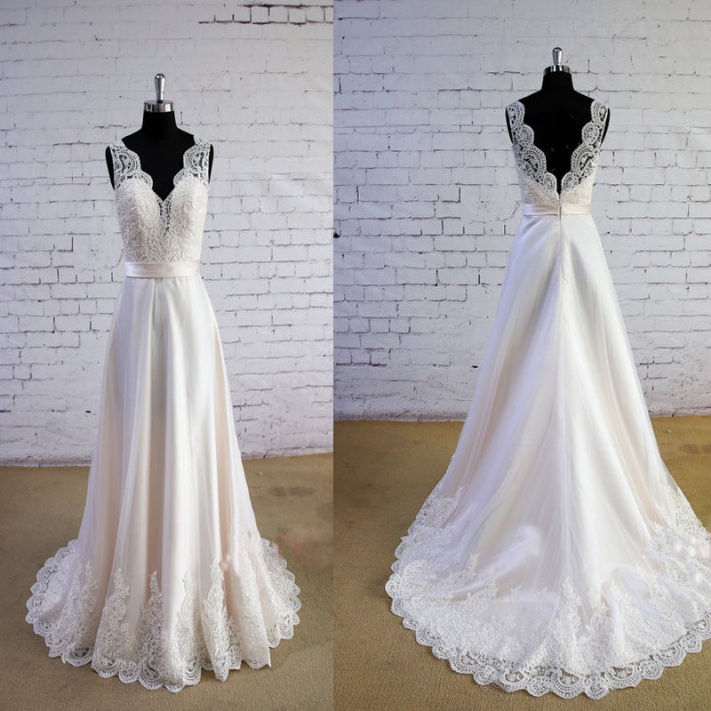 Special Wheat Color Wedding Dress V-Neck Wedding Dress V-Back Lace ...