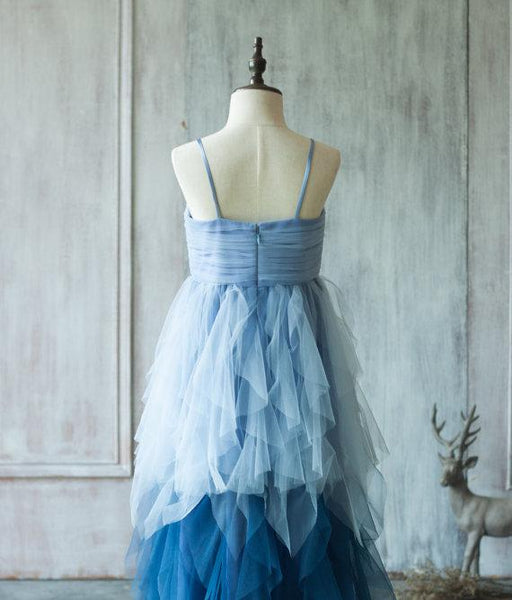 Unique Spaghetti Blue Tulle Flower Girl Dresses, Cheap Junior Bridesmaid Dresses, FG048