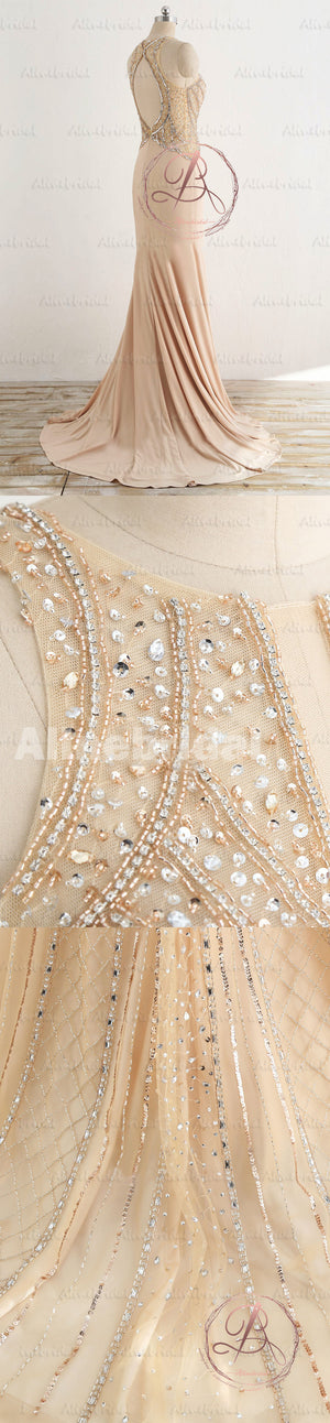 Gorgeous Sparkly Beading Sequins Open Back Mermaid Cut Neck Long Prom Gown Dresses,PD00036