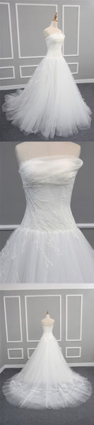 Elegant Simple Pleating Strapless Lace Appliques Long A-line Chapel Trailing Wedding Dress, AB1105