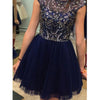 Short sleeve Blue sparkly unique charming cocktail homecoming dresses,BD00100