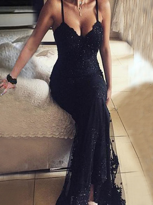 Long Beaded Black Lace Vintage V Neck Sexy Prom Dresses
