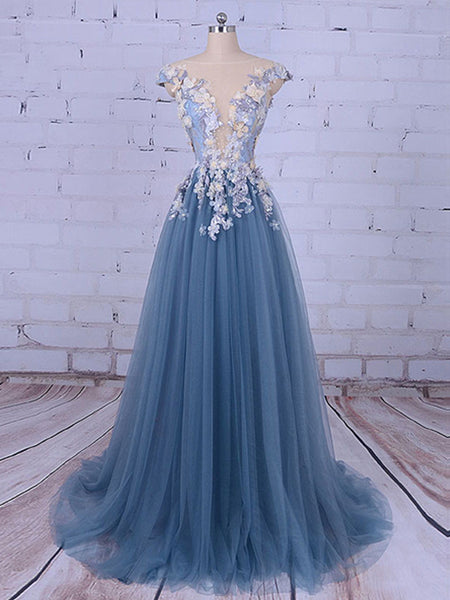 2018 Popular Handmade Flowers V-neck A-line Prom Gown Dresses,PD00046