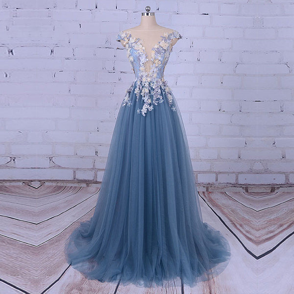 Popular Handmade Flowers V-neck A-line Prom Gown Dresses,PD00046