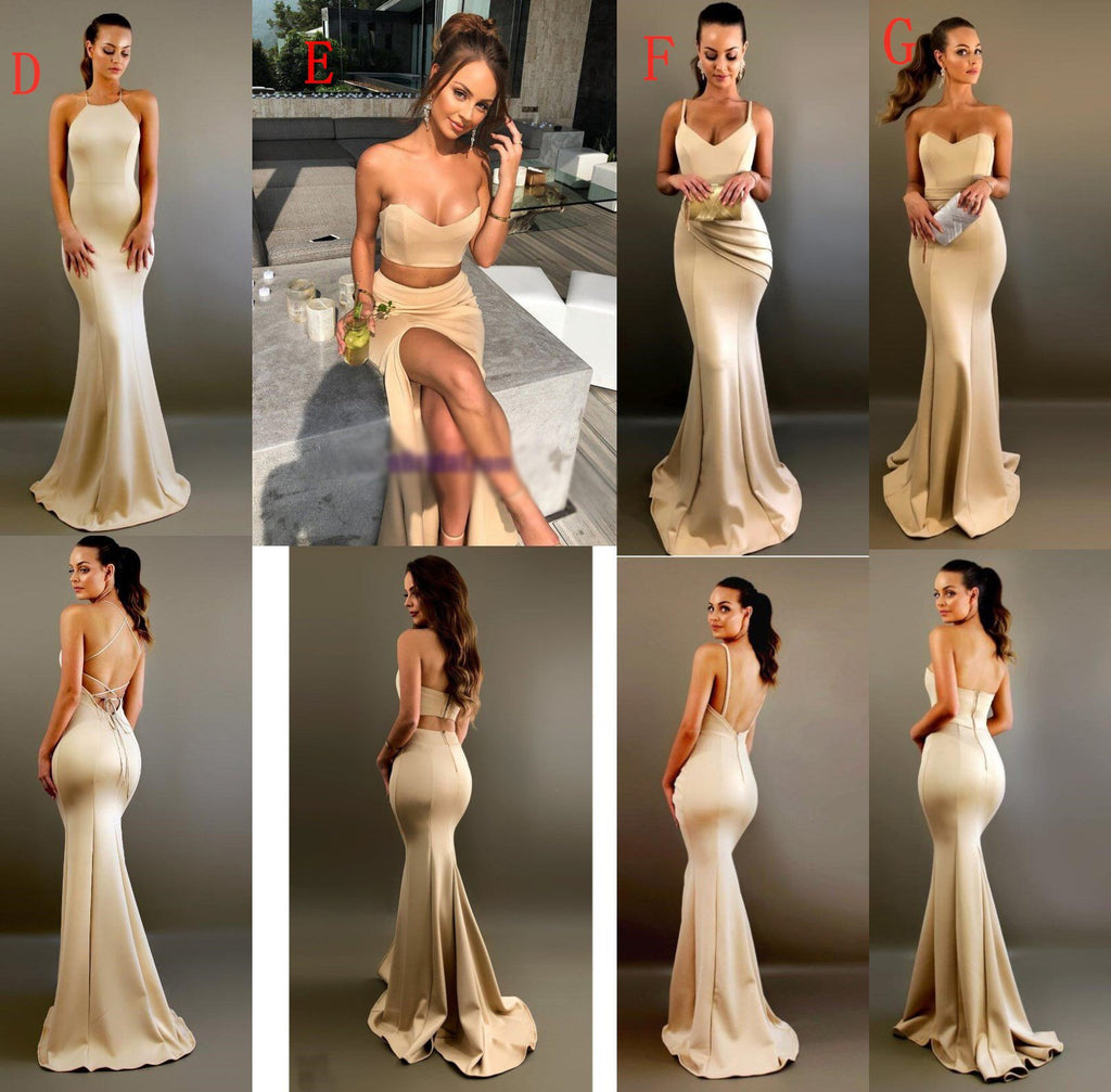 A-line Elegant Sexy V Neck Gold Long Modest Bridesmaid Dresses with Side Slit,WG296