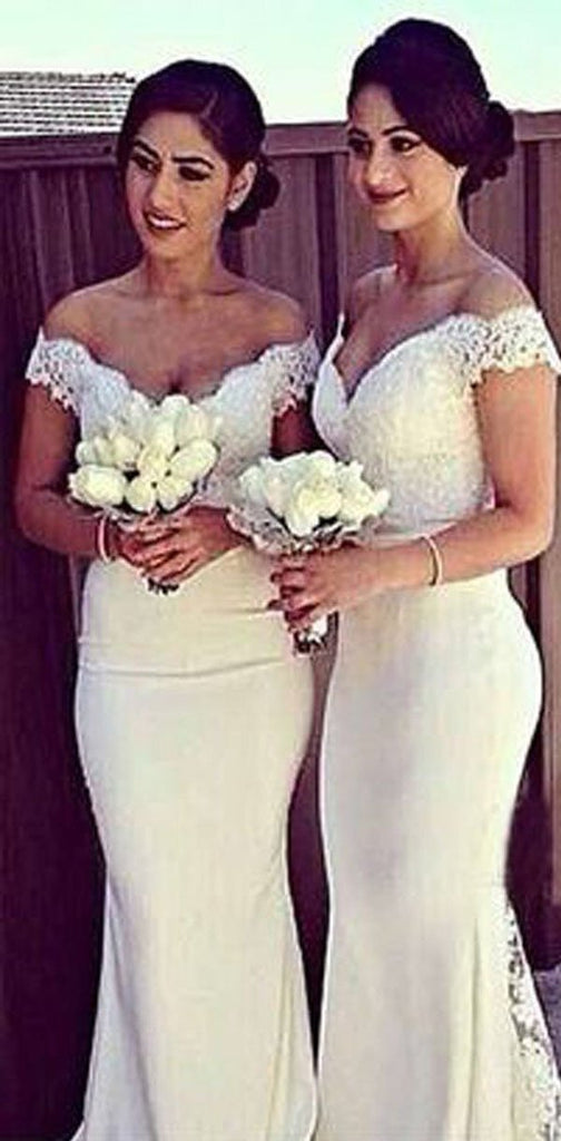 Charming White Long Cap Sleeve Lace Off Shoulder Mermaid Sexy Long Bridesmaid Dresses, WG10